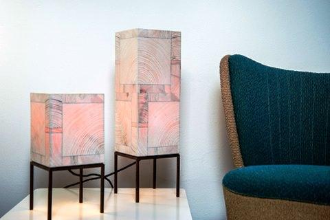 Holz Leucht - Lampe & Sessel
