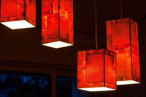 Holz Leucht - Lampe